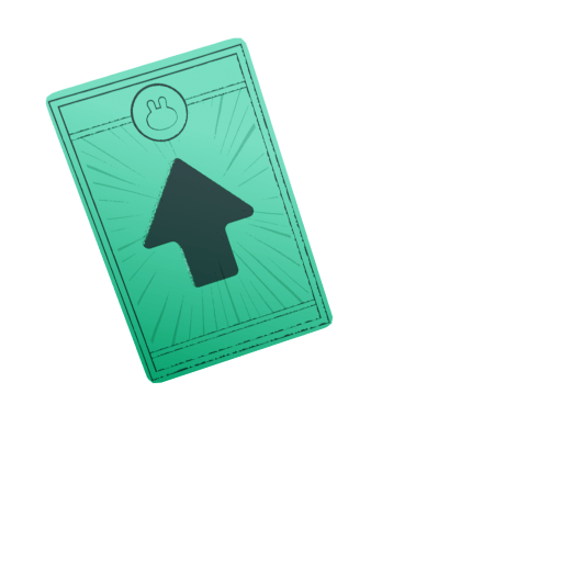 Green CAKE card with up arrow