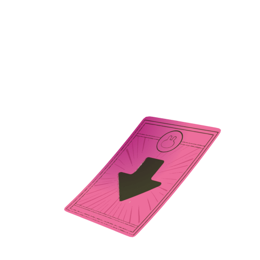 Red Cake card with down arrow